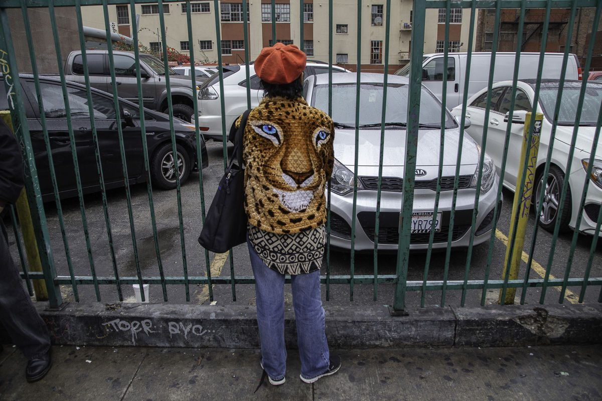 woman with a jacket with leopard photo
