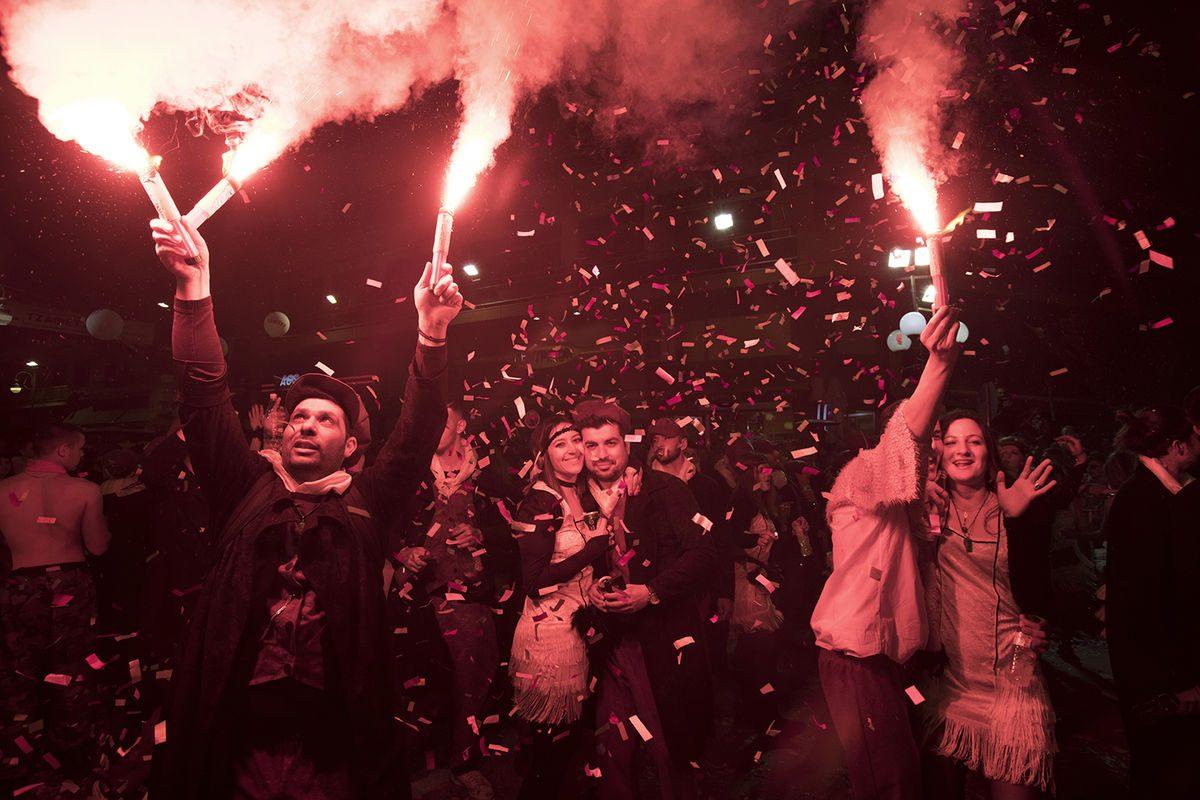 Humanistic photography people and smoke bombs